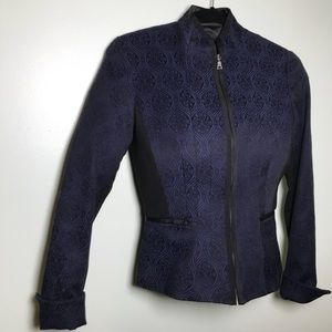 Tahari Black on blue paisley blazer suit jacket S